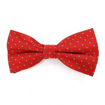 Red Bow Tie with Light Blue Polka Dots